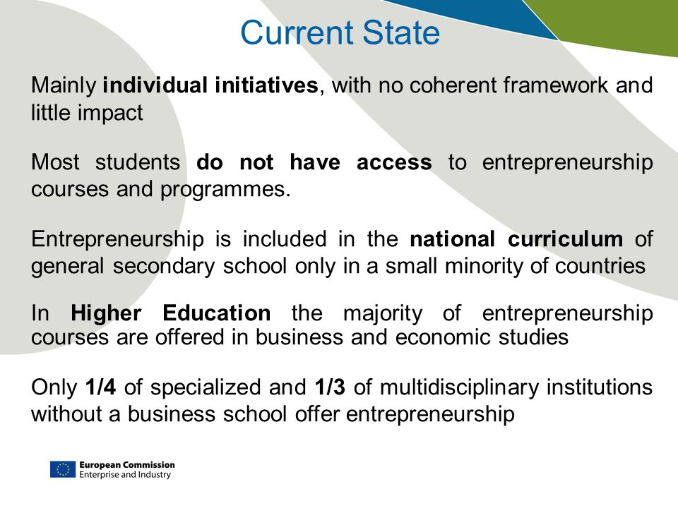 Current State Mainly individual initiatives, with no coherent framework and little impact.