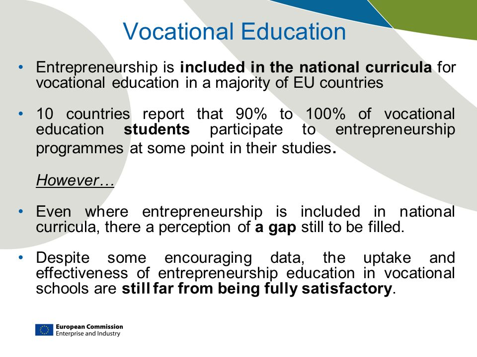 Vocational Education Entrepreneurship is included in the national curricula for vocational education in a majority of EU countries.