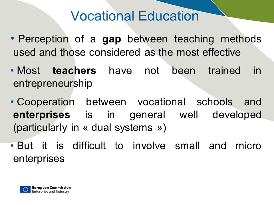 Vocational Education Perception of a gap between teaching methods used and those considered as the most effective.