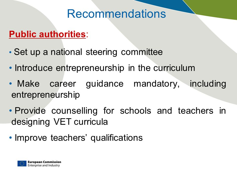 Recommendations Public authorities: