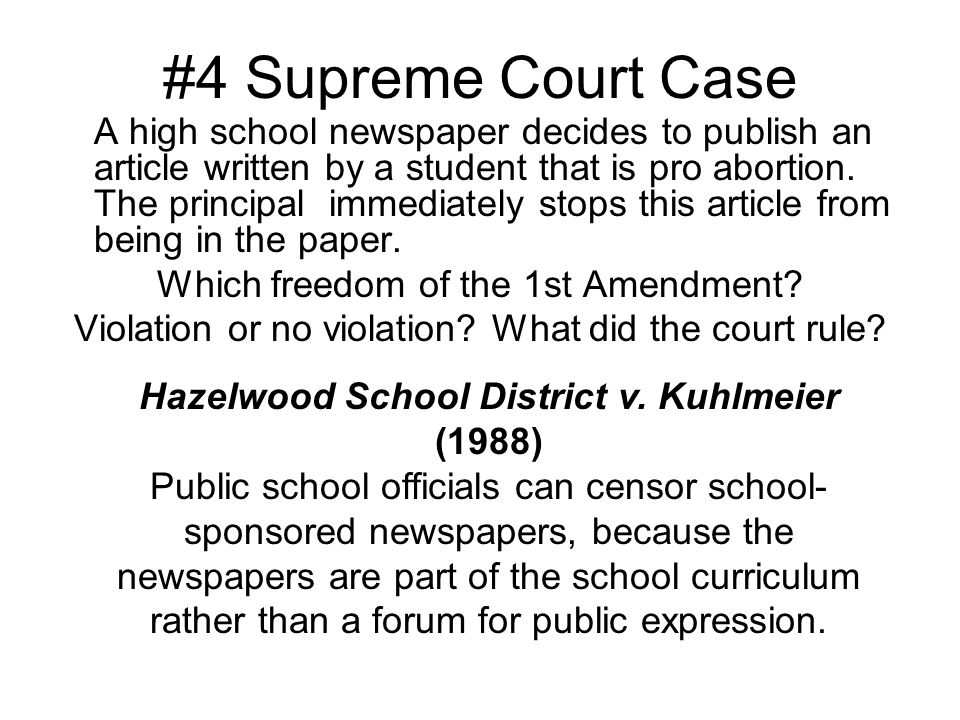 4 Supreme Court Case Which Freedom Of The 1st Amendment