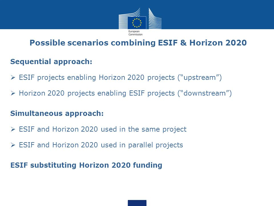 Possible scenarios combining ESIF & Horizon 2020