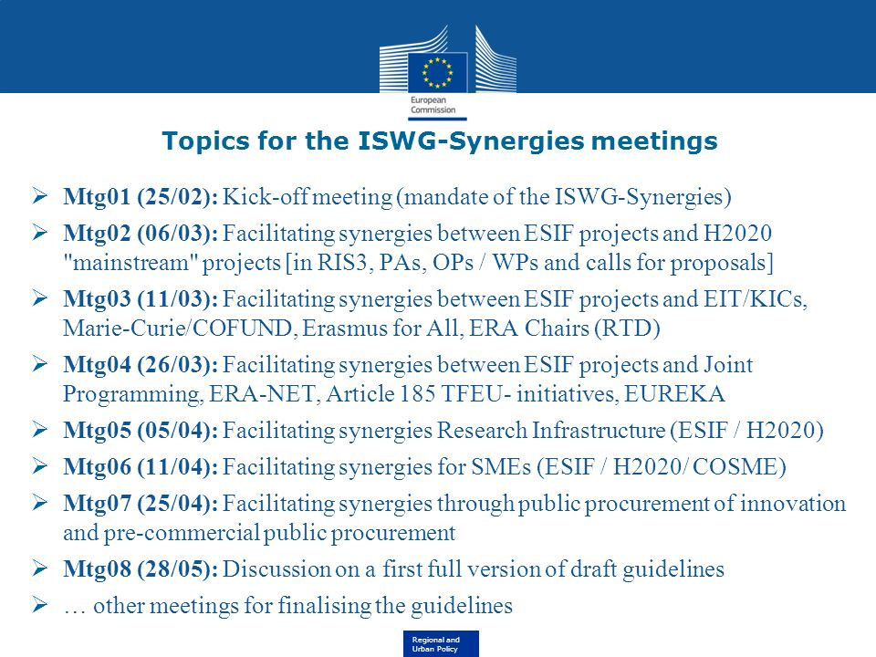Topics for the ISWG-Synergies meetings