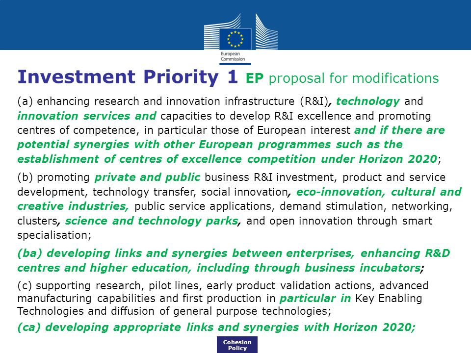 Investment Priority 1 EP proposal for modifications