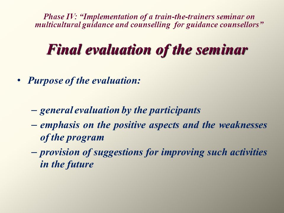 Final evaluation of the seminar