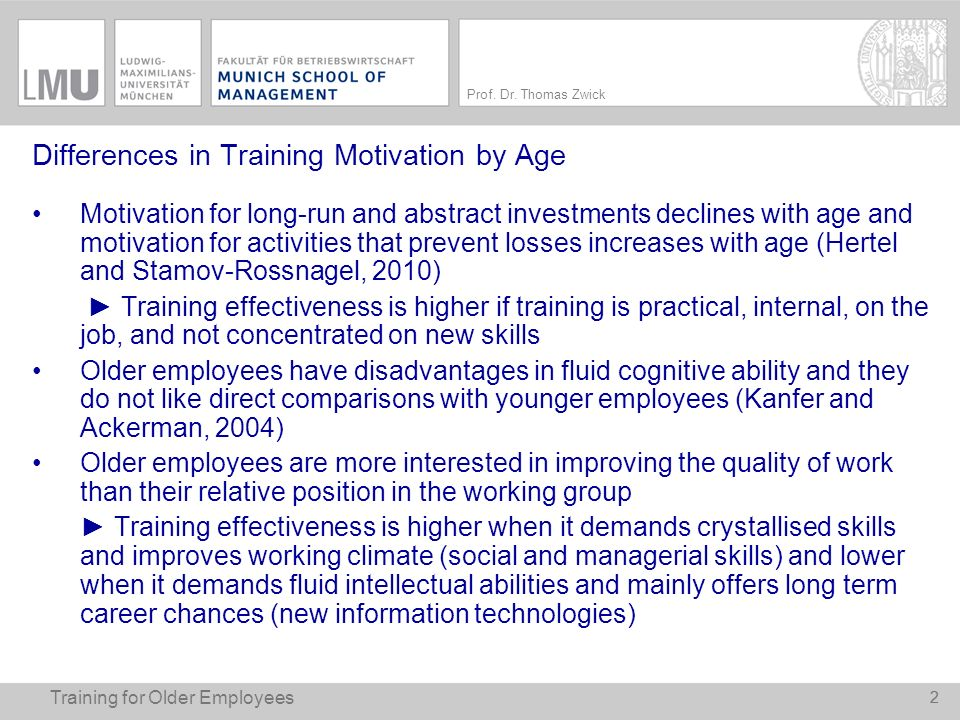 Differences in Training Motivation by Age