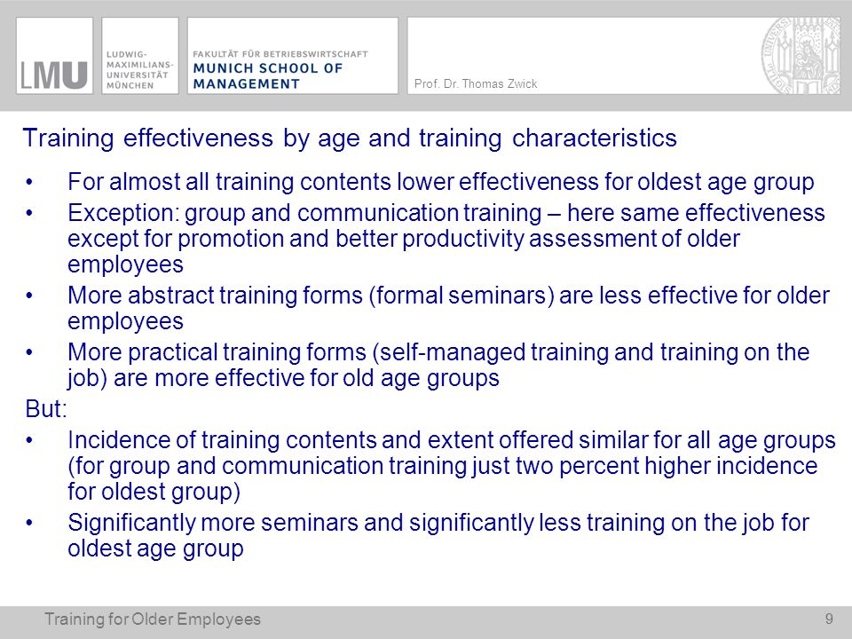Training effectiveness by age and training characteristics