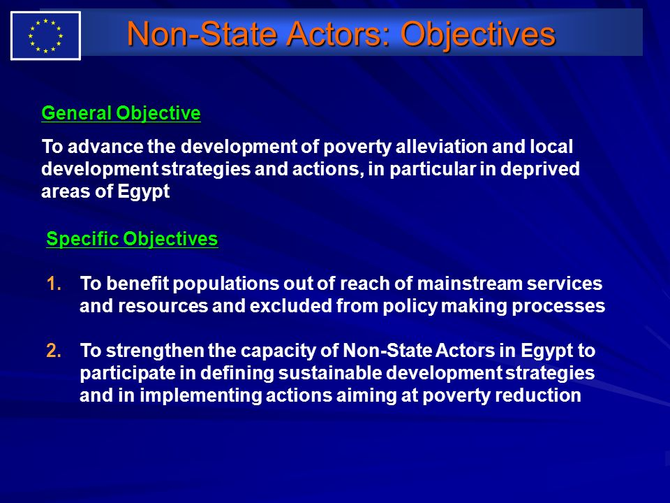 Non-State Actors: Objectives