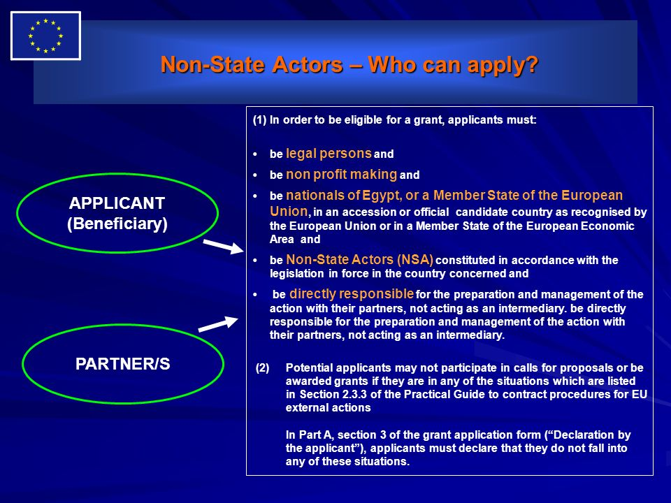 Non-State Actors – Who can apply
