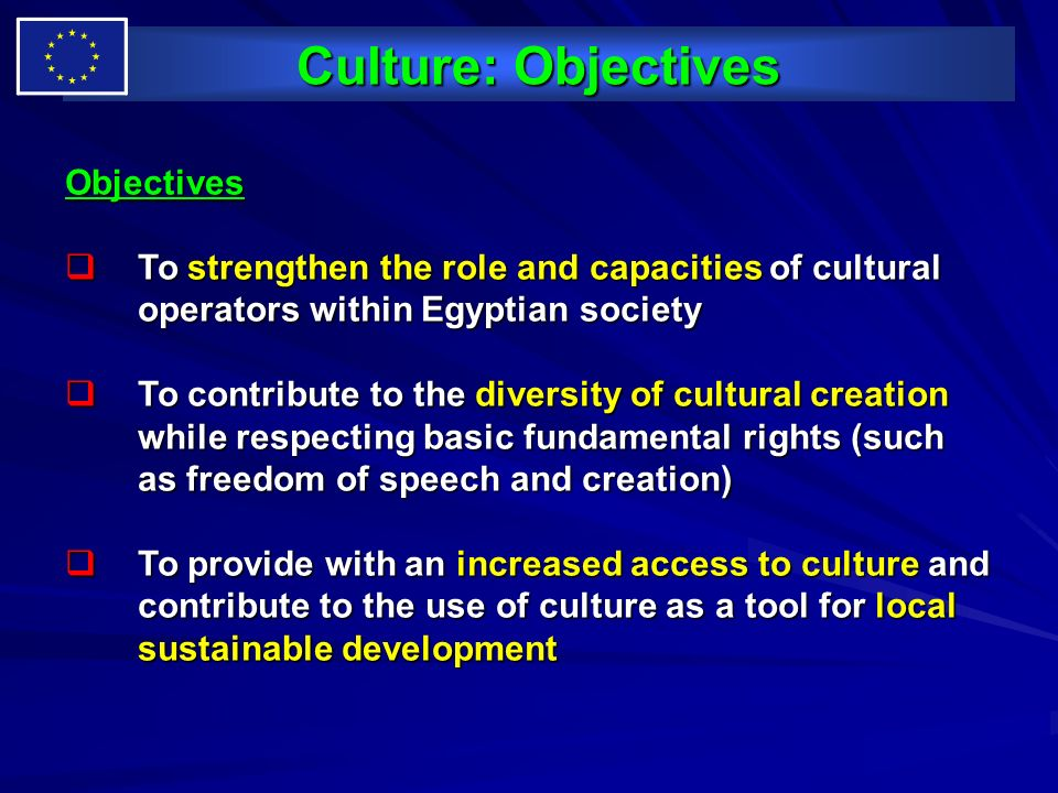 Culture: Objectives Objectives
