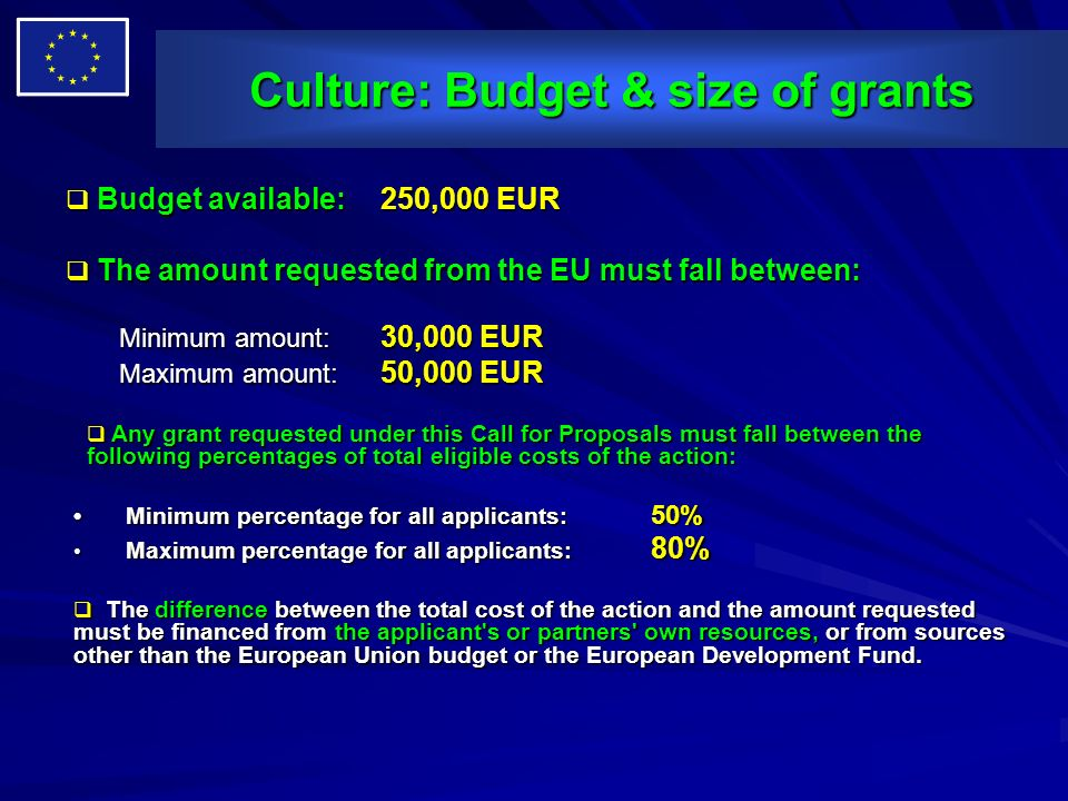 Culture: Budget & size of grants