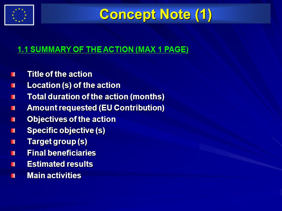 Concept Note (1) 1.1 SUMMARY OF THE ACTION (MAX 1 PAGE)
