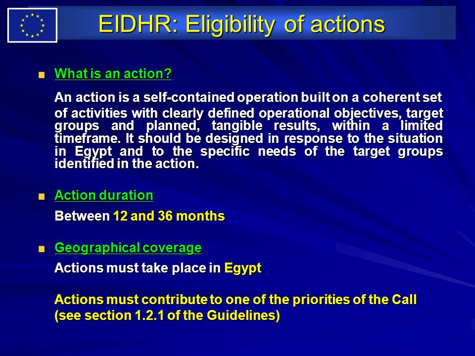 EIDHR: Eligibility of actions