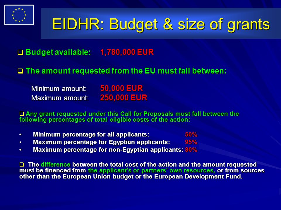 EIDHR: Budget & size of grants