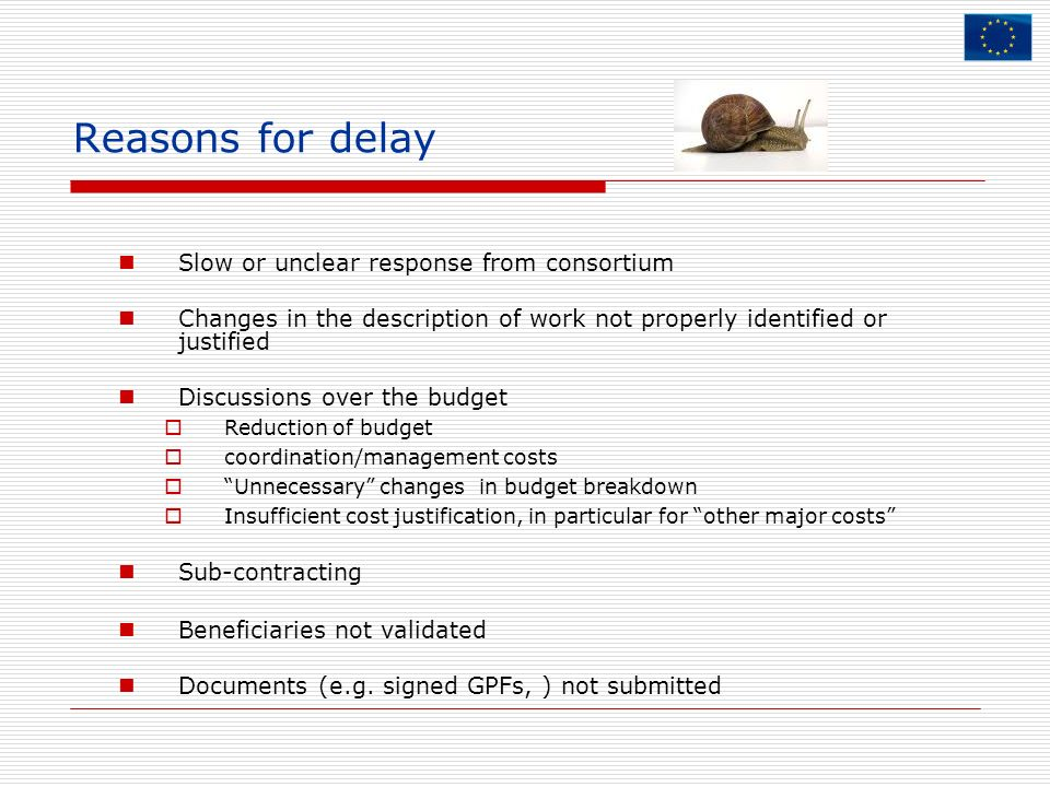 Reasons for delay Slow or unclear response from consortium