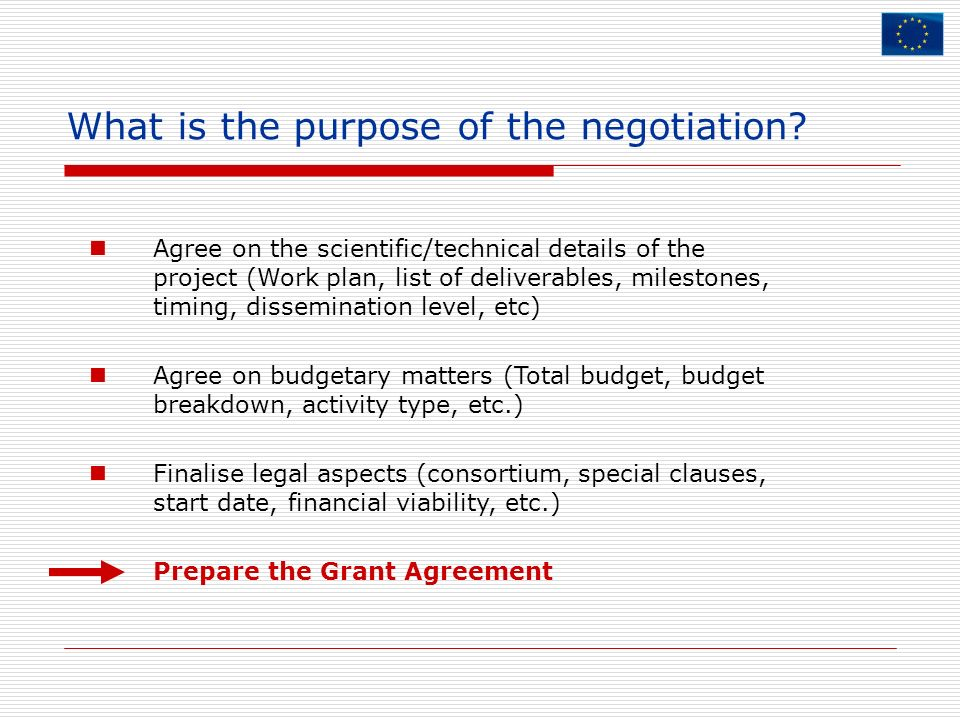 What is the purpose of the negotiation