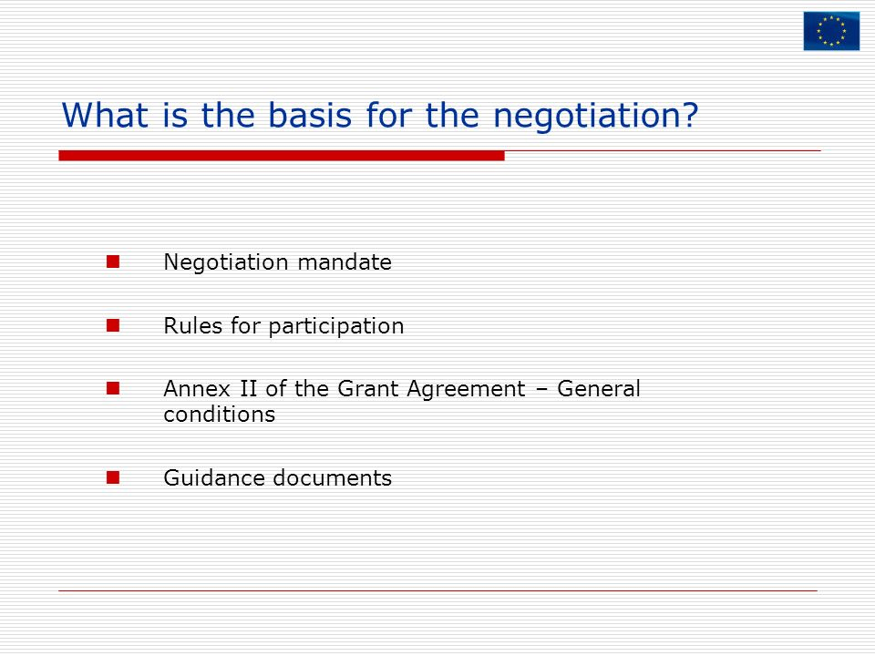 What is the basis for the negotiation