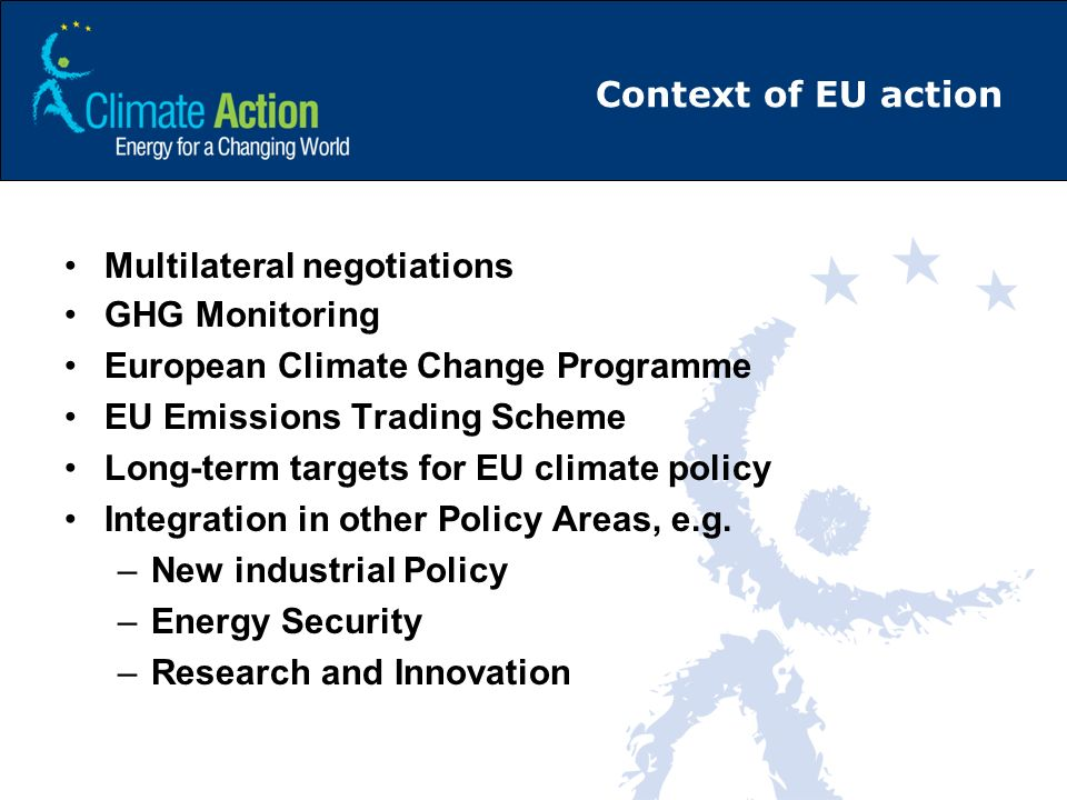 Context of EU action Multilateral negotiations. GHG Monitoring. European Climate Change Programme.