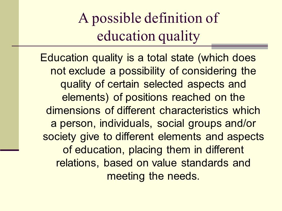 Quality education meaning