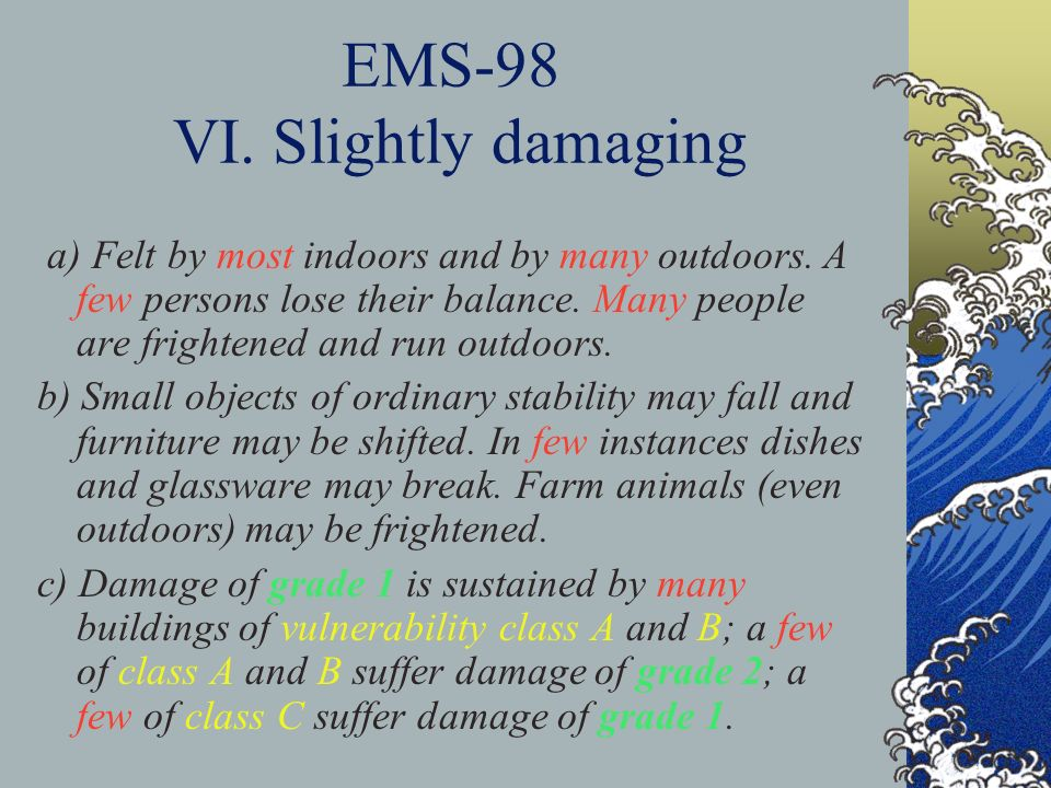 EMS-98 VI. Slightly damaging