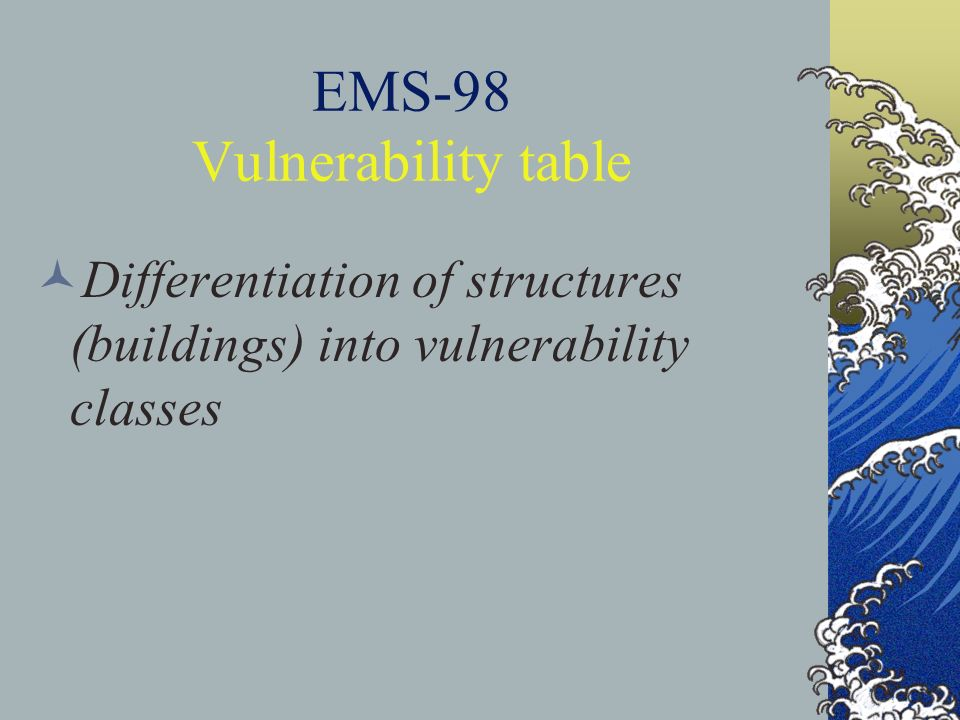 EMS-98 Vulnerability table