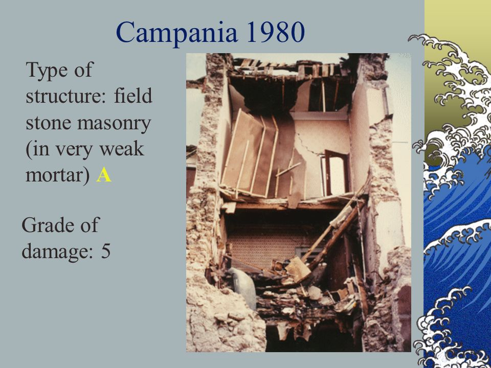 Campania 1980 Type of structure: field stone masonry (in very weak mortar) A Grade of damage: 5