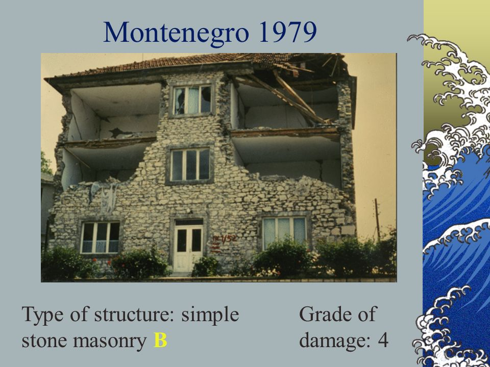 Montenegro 1979 Type of structure: simple stone masonry B