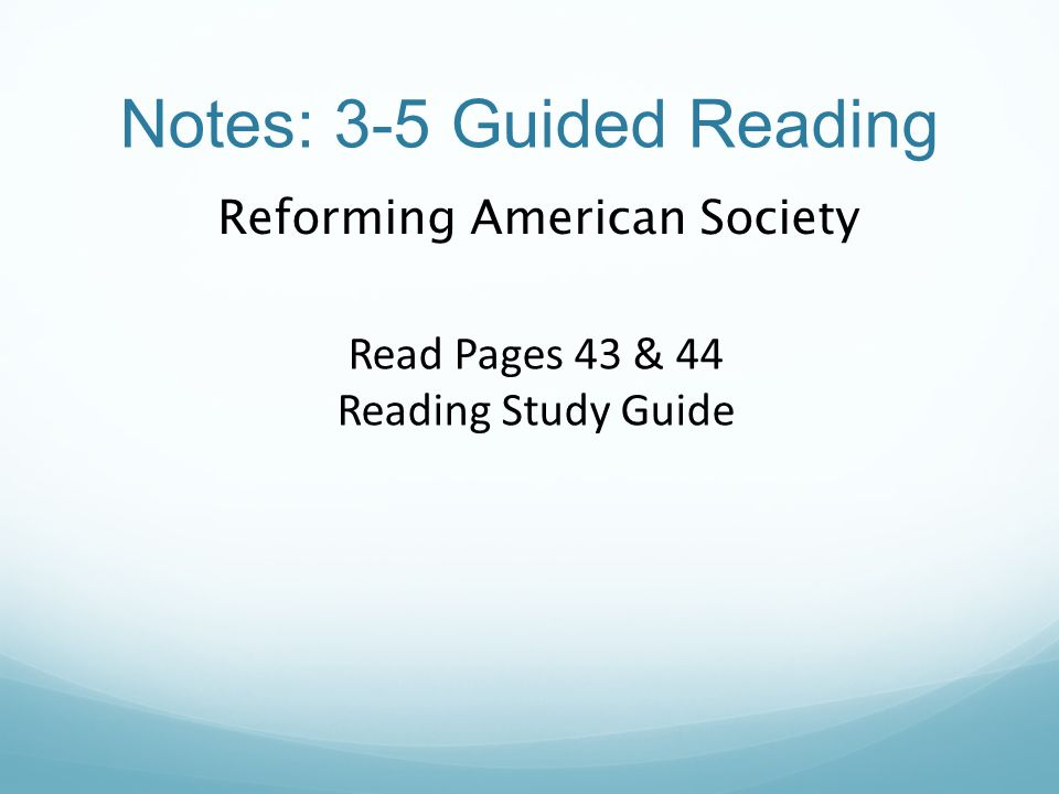 Notes: 3-5 Guided Reading