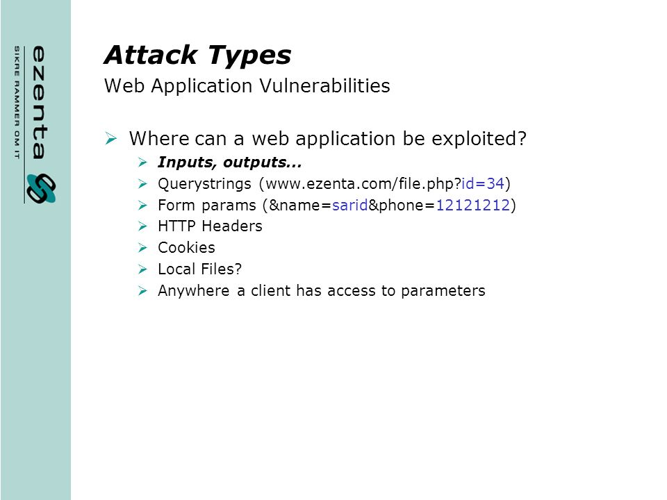 Attack Types Web Application Vulnerabilities