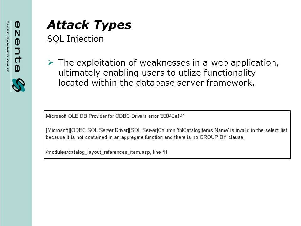 Attack Types SQL Injection