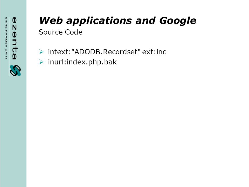 Web applications and Google