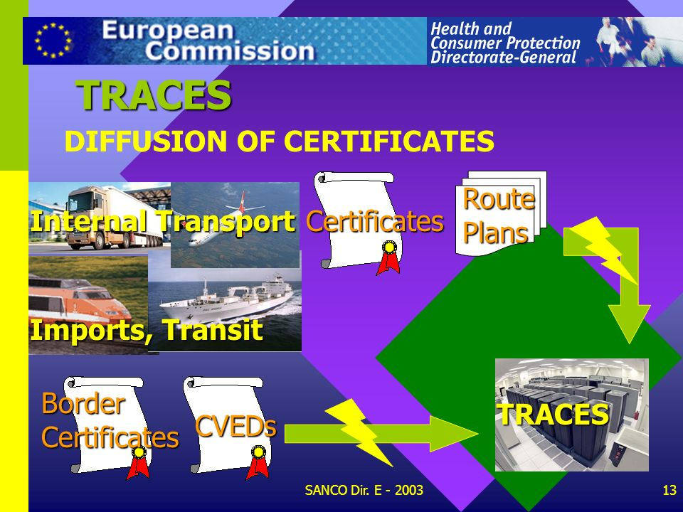 TRACES DIFFUSION OF CERTIFICATES Route Plans Internal Transport