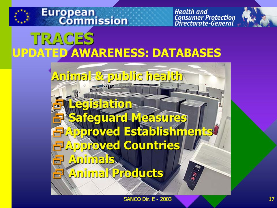 TRACES UPDATED AWARENESS: DATABASES Animal & public health Legislation