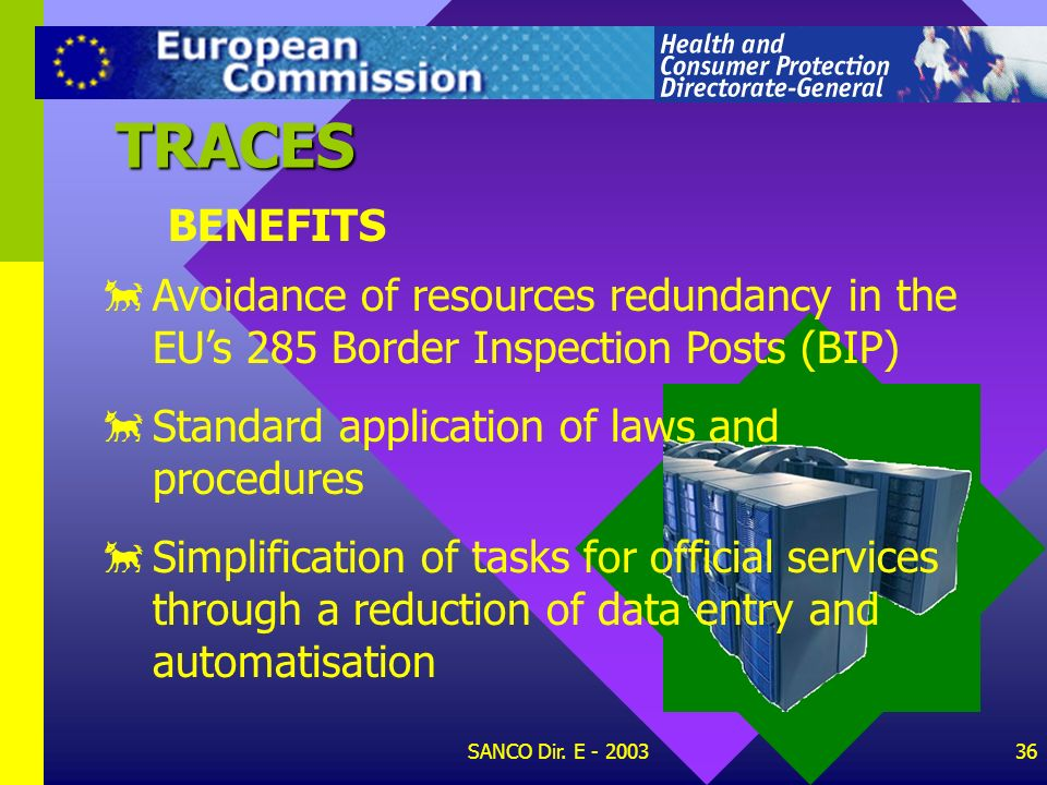 TRACES BENEFITS. Avoidance of resources redundancy in the EU's 285 Border Inspection Posts (BIP) Standard application of laws and procedures.