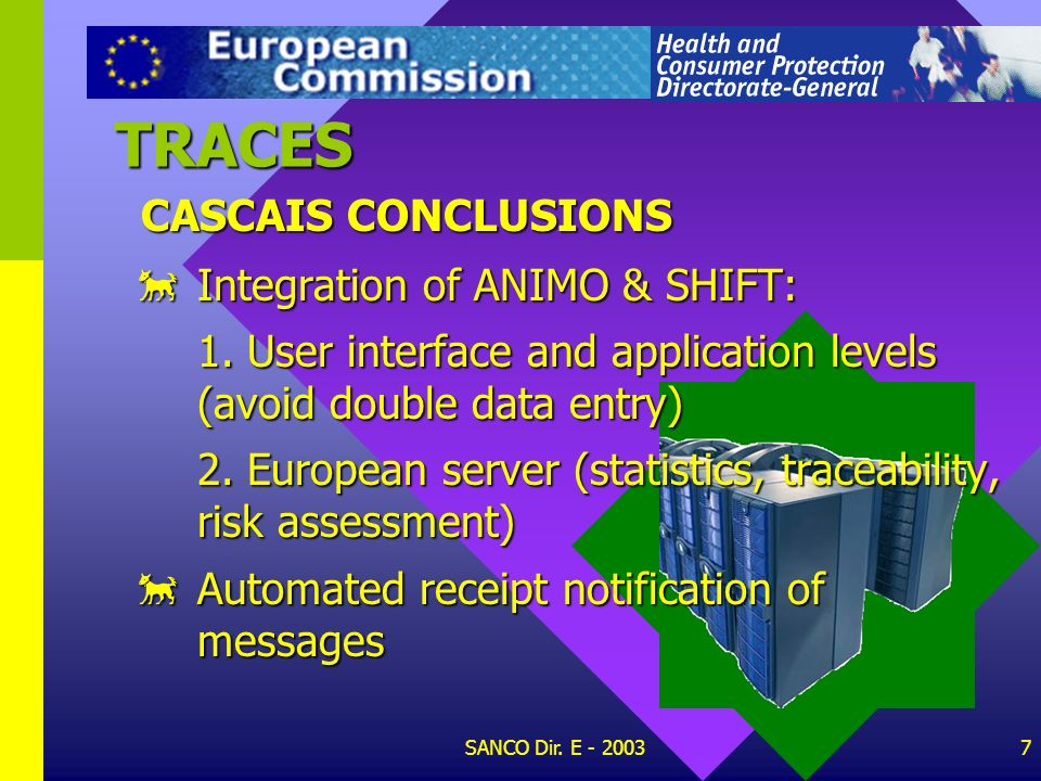 TRACES CASCAIS CONCLUSIONS Integration of ANIMO & SHIFT: