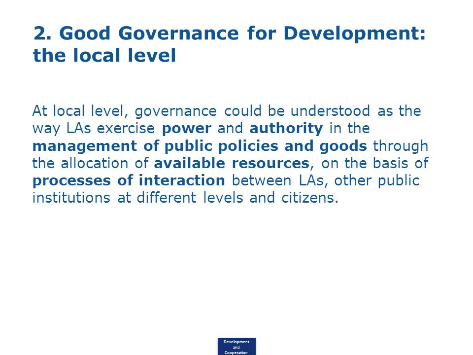 2. Good Governance for Development: the local level