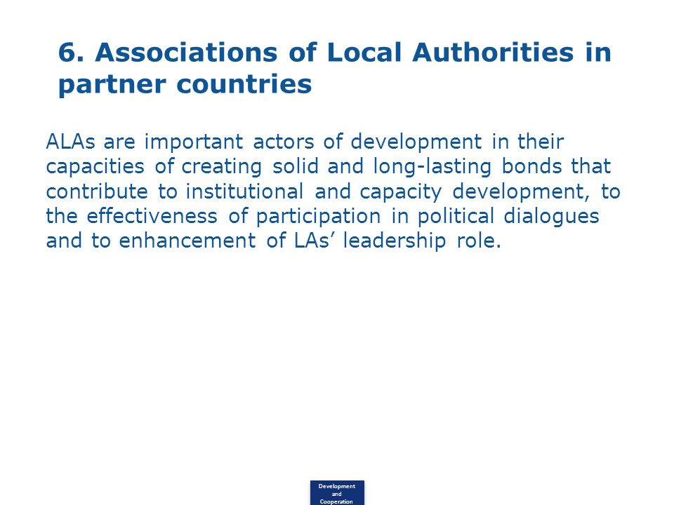6. Associations of Local Authorities in partner countries