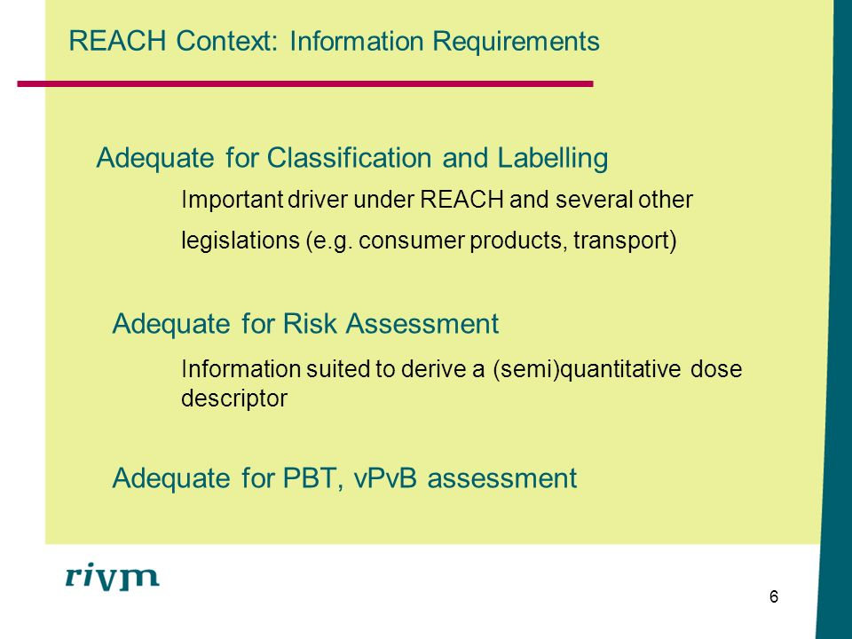 REACH Context: Information Requirements