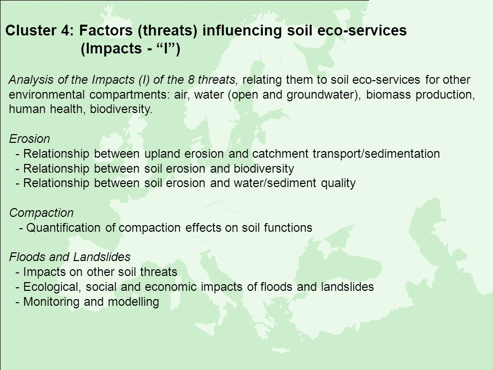 Cluster 4: Factors (threats) influencing soil eco-services