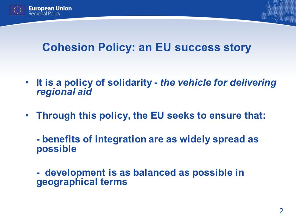 Cohesion Policy: an EU success story