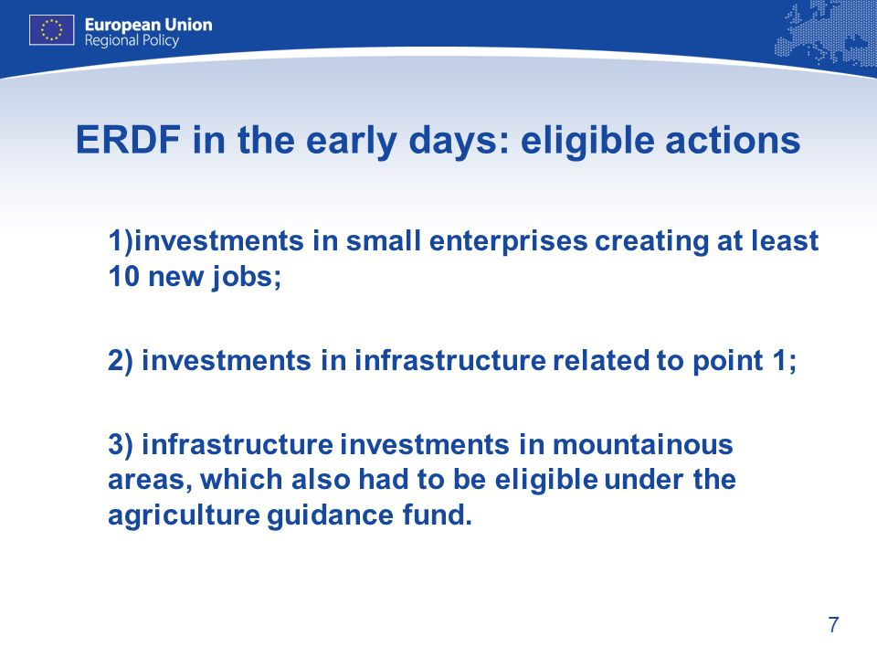 ERDF in the early days: eligible actions