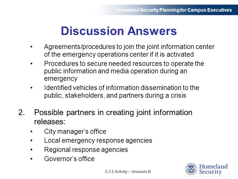 Homeland security planning for campus executives ppt download discussion answers agreementsprocedures to join the joint information center of the emergency operations center fandeluxe Image collections