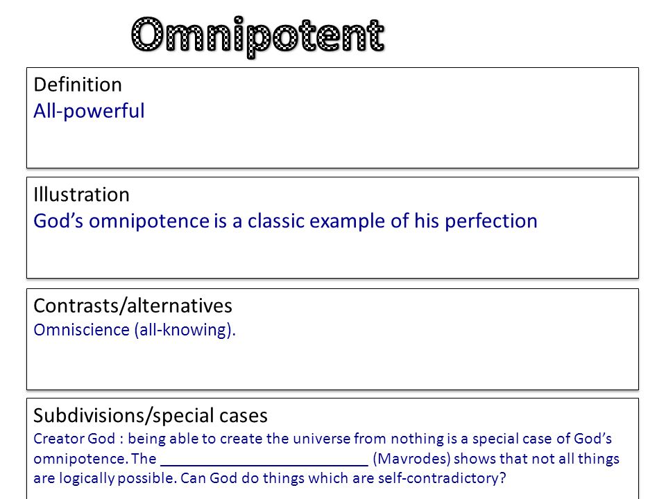 Define omnipotent god