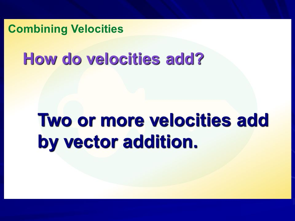 Two or more velocities add by vector addition.