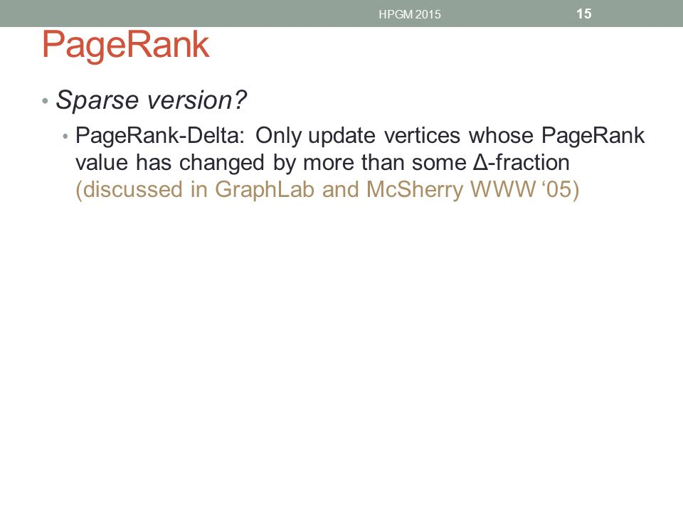 PageRank Sparse version