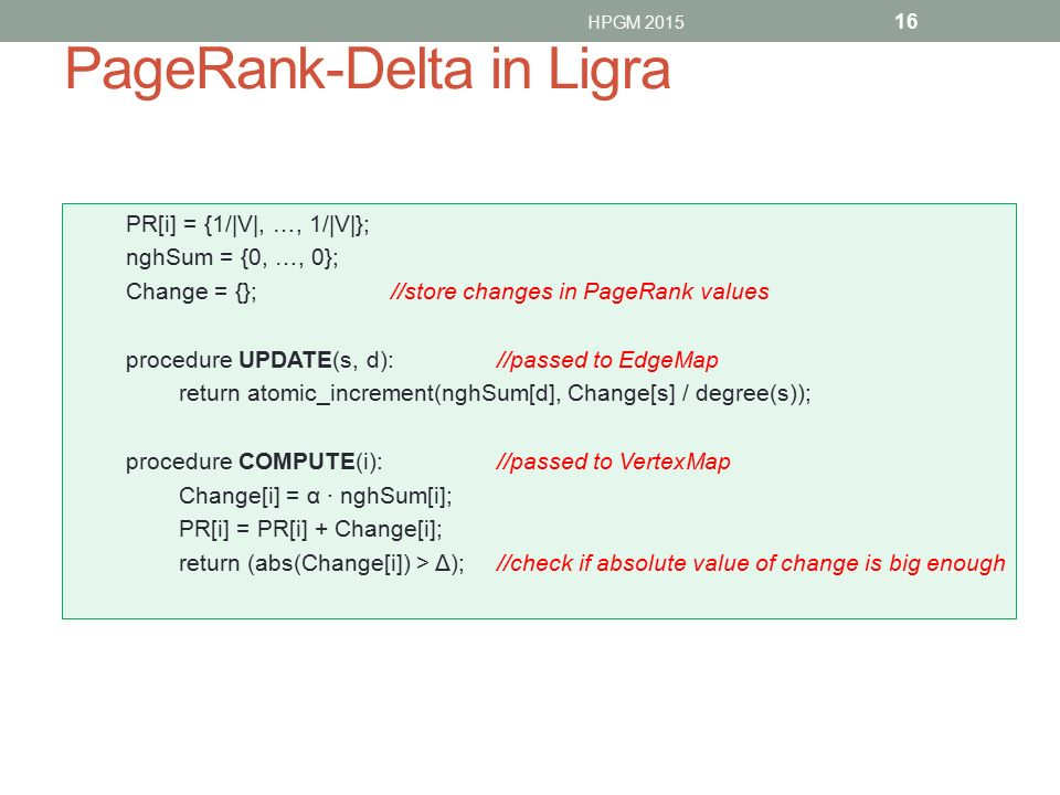 PageRank-Delta in Ligra