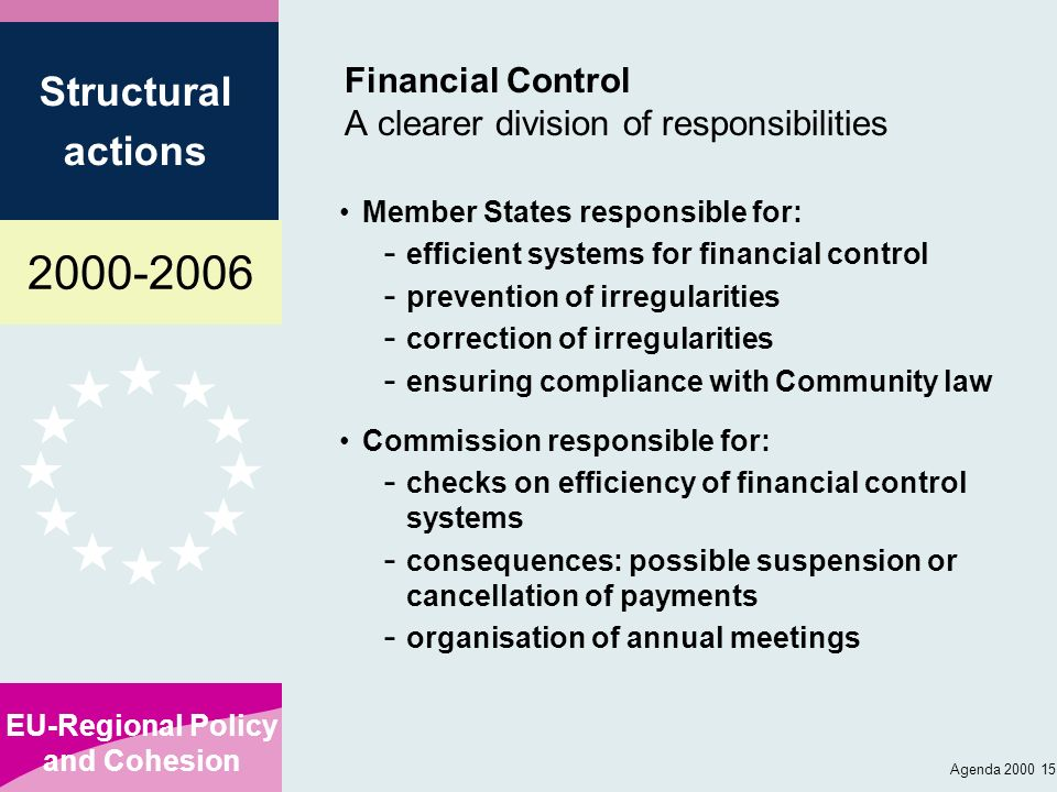 Financial Control A clearer division of responsibilities