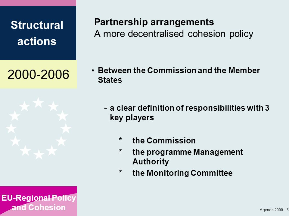 Partnership arrangements A more decentralised cohesion policy