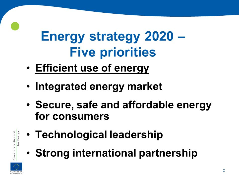 Energy strategy 2020 – Five priorities