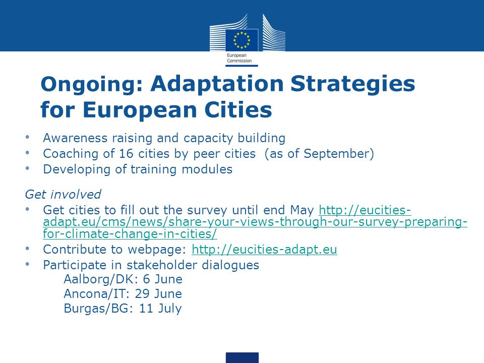 Ongoing: Adaptation Strategies for European Cities